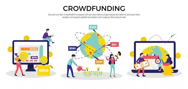 Dinheiro de crowdfunding levantando plataformas internacionais de internet para idéias de caridade de inicialização de negócios 3 ilustração de composições horizontais planas Vetor grátis