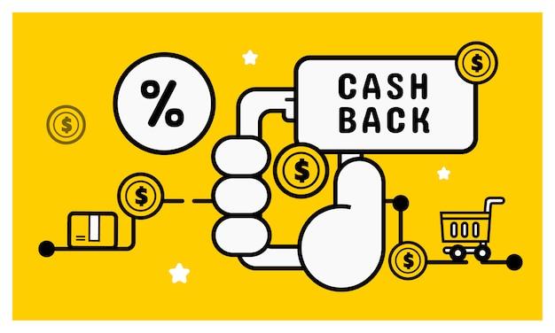 Dinheiro de volta o conceito de compras on-line. Vetor Premium