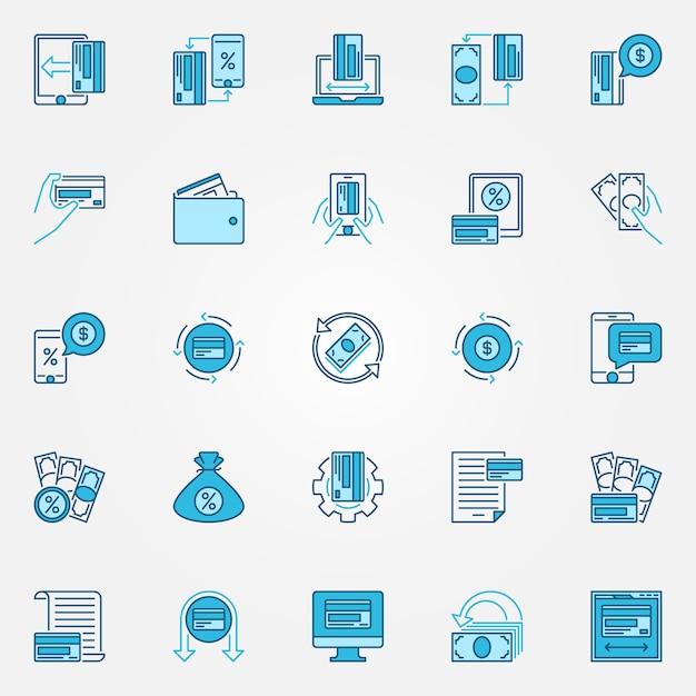 Dinheiro e cashback ícones conceito azul - vector cashback recompensa programa ícones criativos Vetor Premium