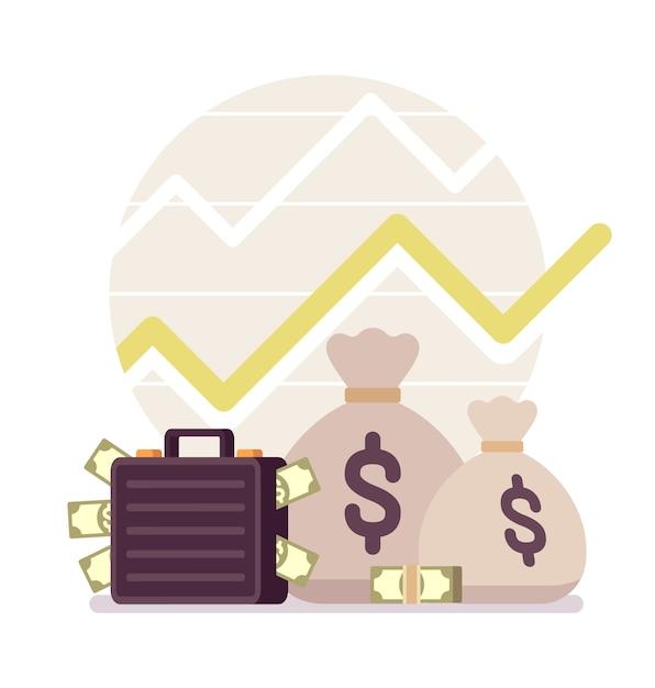 Dinheiro e um gráfico positivo Vetor Premium