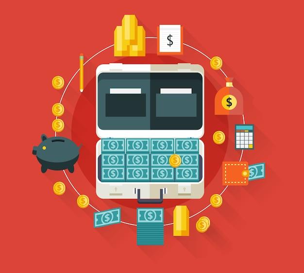 Dinheiro na mala. ilustração moderna com longas sombras. Vetor Premium