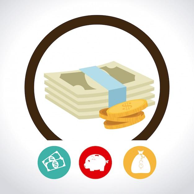 Dinheiro sobre branco Vetor grátis