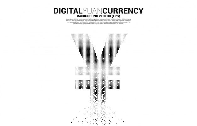 Dinheiro yuan chinês e ícone de moeda iene japonês da transformação de pixels. conceito de moeda digital da china yuan. Vetor Premium