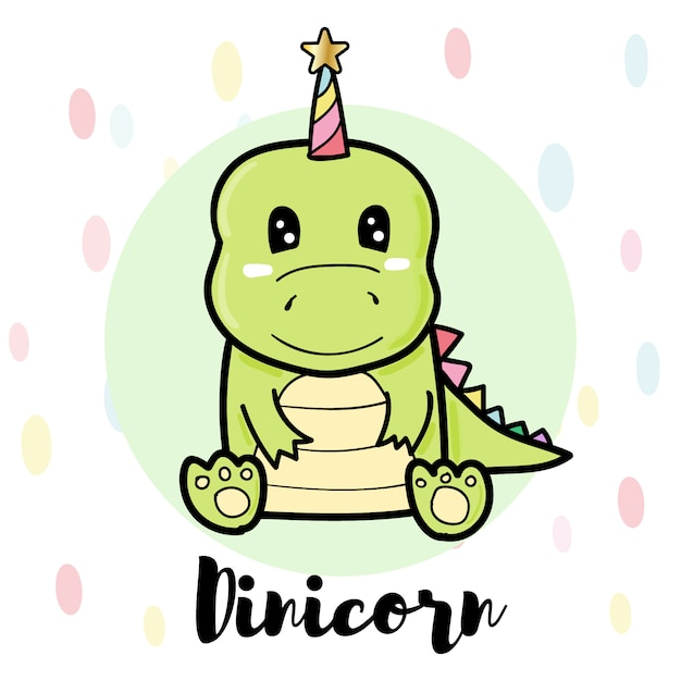 Dinicorn bonito dos desenhos animados, dinossauro verde Vetor Premium