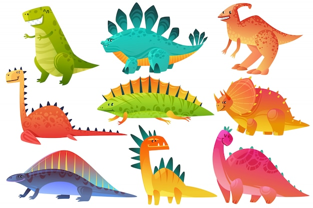 Dino fofo. dinossauro dragão animais selvagens personagem natureza crianças felizes pterossauro brontossauro dinos figura selva dos desenhos animados ícones Vetor Premium