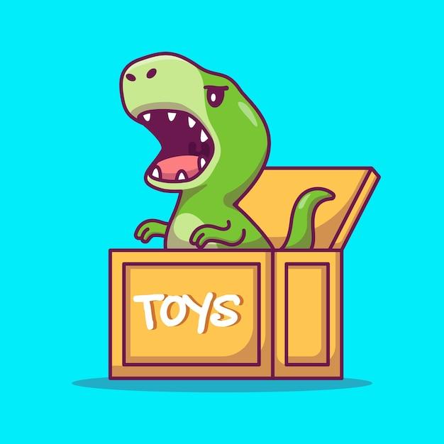 Dinossauro bonito na ilustração dos desenhos animados da caixa. conceito de ícone de animal Vetor grátis