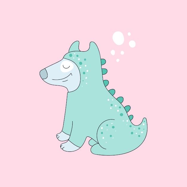Dinossauro cachorro engraçado Vetor Premium