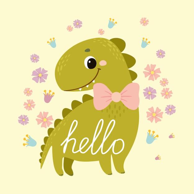 Dinossauro cartão postal. cumprimento. bebê fofo dino para crianças Vetor grátis