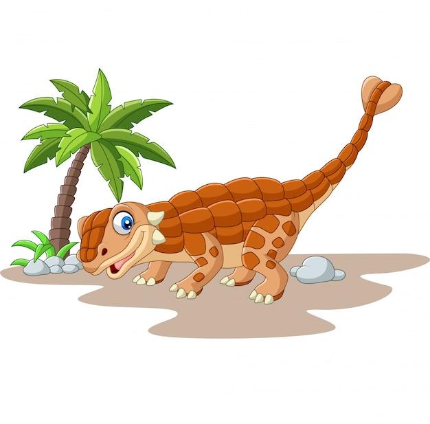 Dinossauro de ankylosaurus dos desenhos animados em branco Vetor Premium