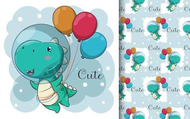 Dinossauro de desenho animado bonito com balões Vetor Premium