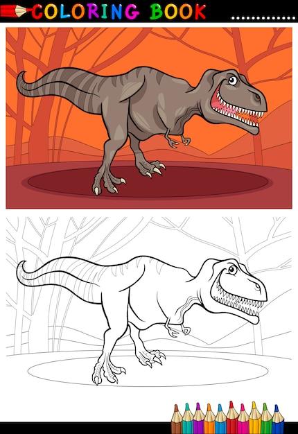 Dinossauro De Tiranossauro Rex Para Colorir Vetor Premium
