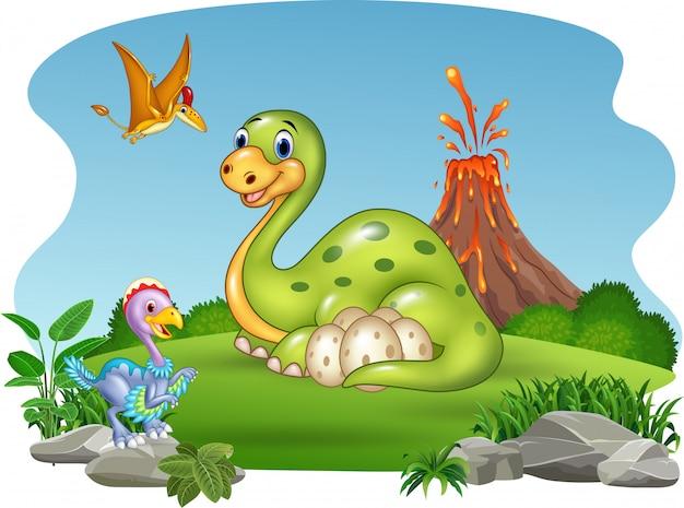 Dinossauro dos desenhos animados com seus ovos na selva Vetor Premium
