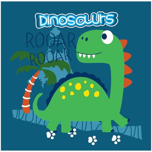 Dinossauro engraçado animal dos desenhos animados Vetor Premium