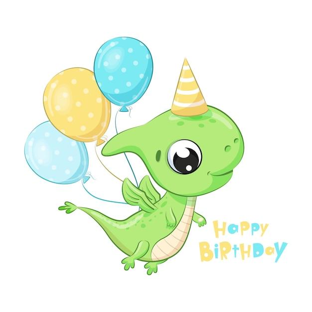 Dinossauro fofo com balões. clipart de feliz aniversario Vetor Premium