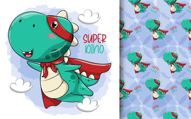 Dinossauro herói de desenho animado fofo Vetor Premium