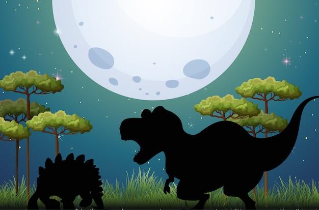 Dinossauro na silhueta da cena da natureza Vetor grátis