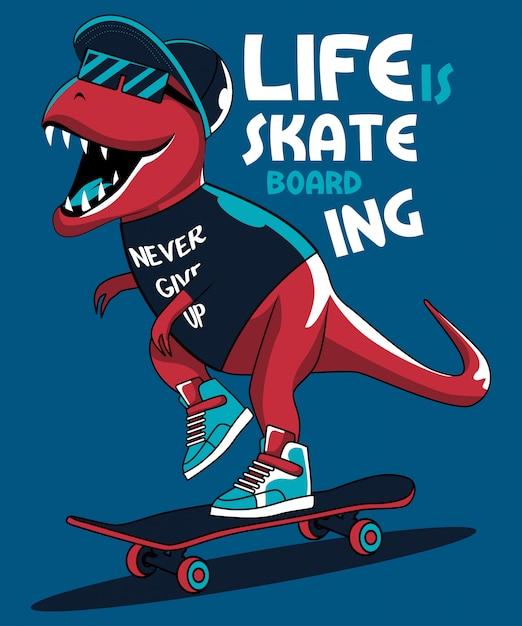 Dinossauro patinador legal Vetor Premium