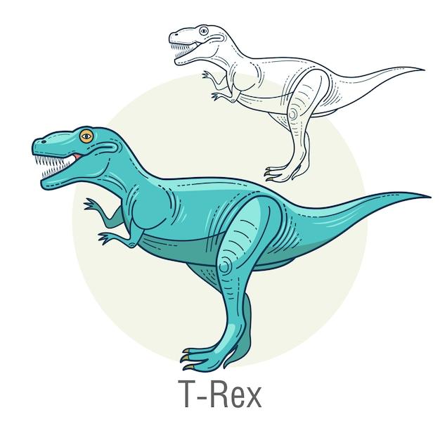 Dinossauro, tiranossauro. Vetor Premium
