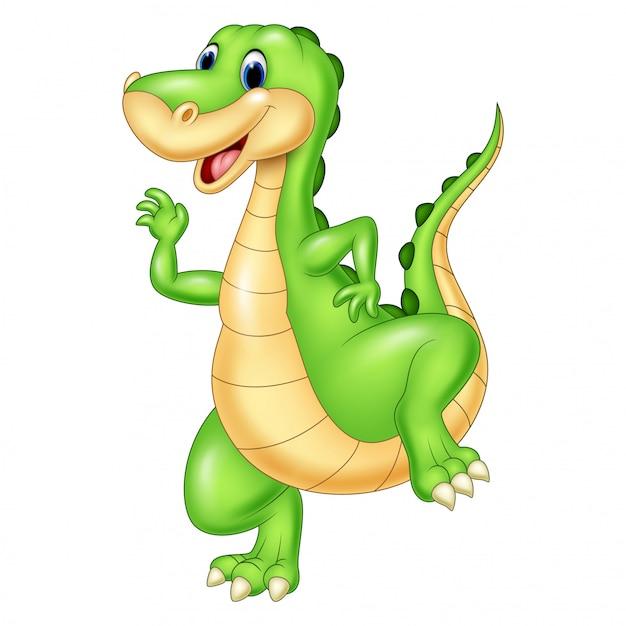 Dinossauro Verde Dos Desenhos Animados Vetor Premium