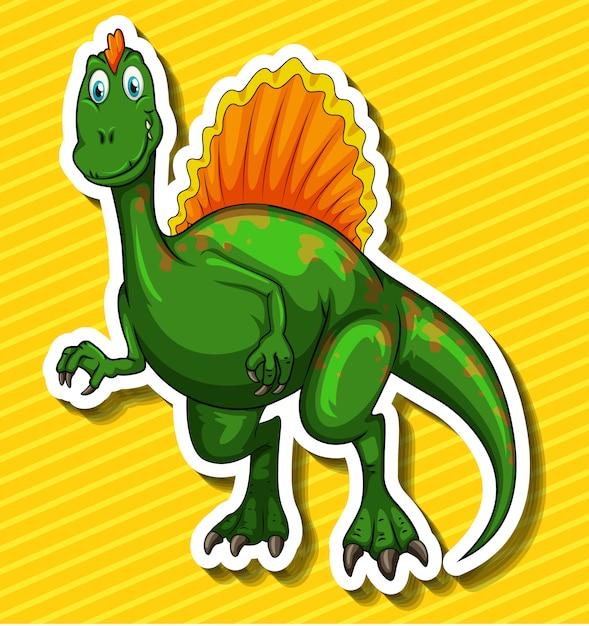 Dinossauro verde em amarelo Vetor grátis