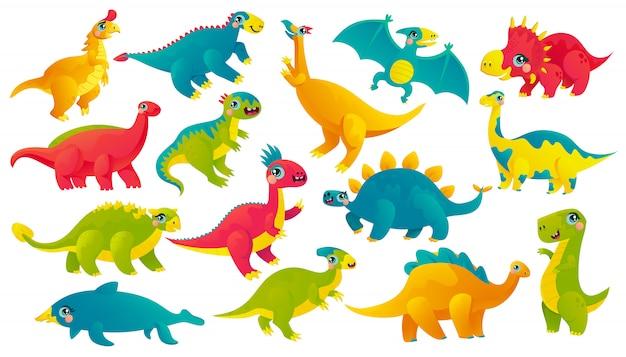 Dinossauros de bebê cartum conjunto de adesivos. coleção de ícone de répteis pré-históricos emoji. monstros antigos com rostos bonitos vector caracteres. patches de scrapbook de animais jurássicos. animais extintos Vetor Premium