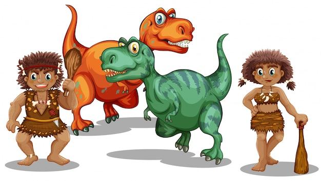 Dinossauros e pessoas da caverna Vetor grátis