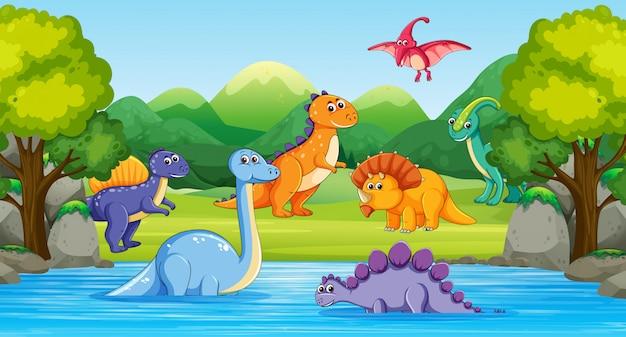 Dinossauros em cena de madeira com rio Vetor grátis