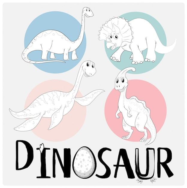 Dinossauros em quatro tipos diferentes Vetor grátis