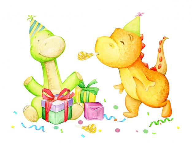 Dinossauros engraçados, se divertindo, comemorando, aniversário. aguarela Vetor Premium