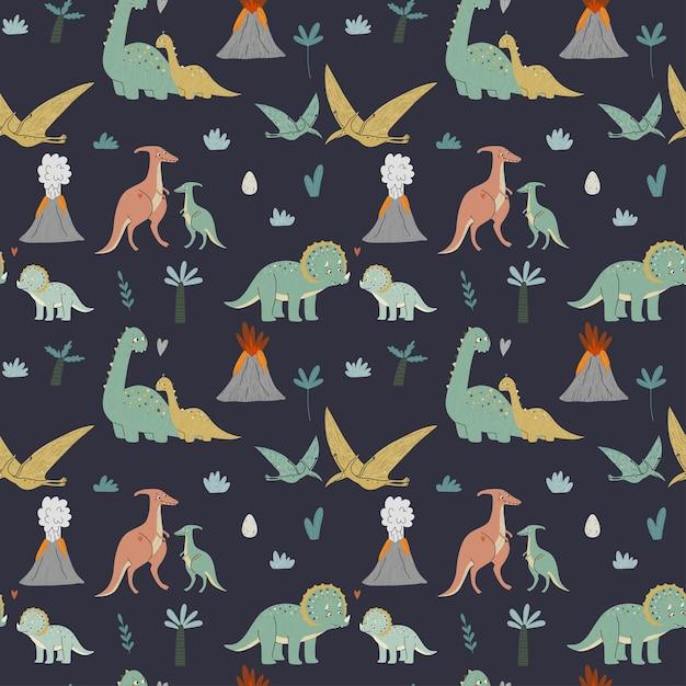 Dinossauros fofos padrão sem emenda mãe e bebê era pré-histórica ilustração para crianças Vetor Premium