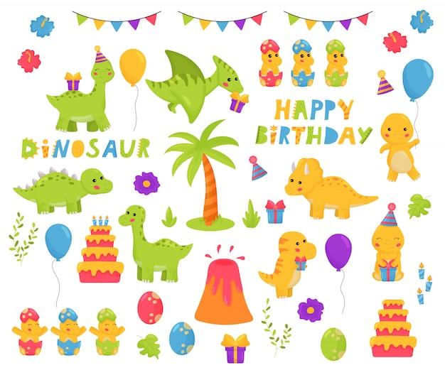 Dinossauros kawaii cartum conjunto de caracteres. tema de aniversário. letras de feliz aniversário. ilustração infantil para berçário. Vetor Premium