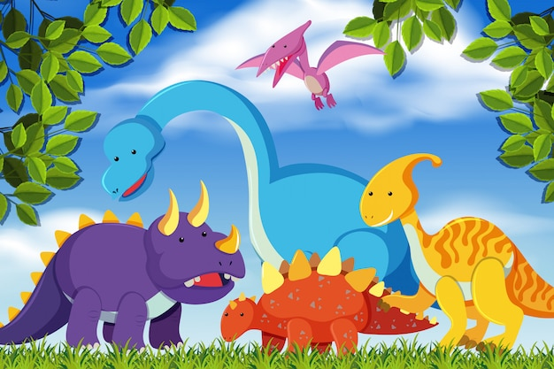 Dinossauros na cena da floresta Vetor Premium