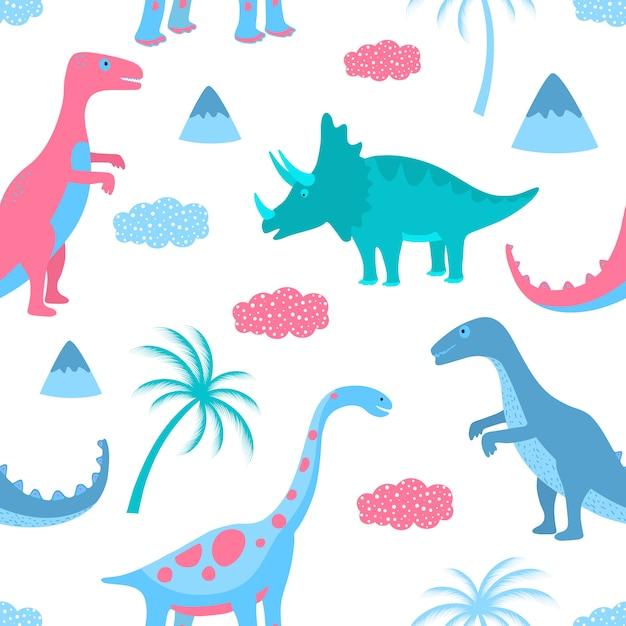 Dinossauros, nuvens e palmeiras engraçados. padrão sem emenda desenhado à mão Vetor Premium