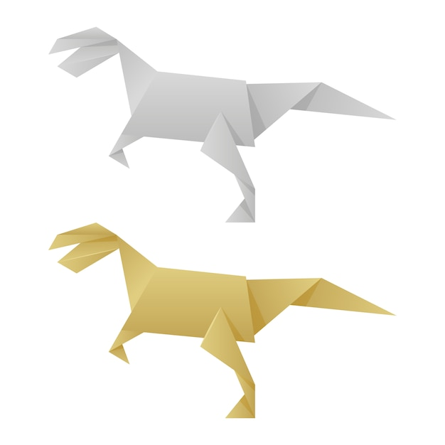 Dinossauros origami de papel isolados no branco Vetor Premium