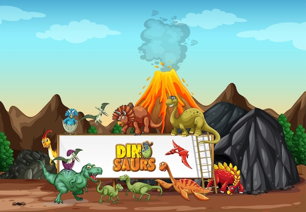 Dinossauros personagem de desenho animado em cena da natureza Vetor Premium