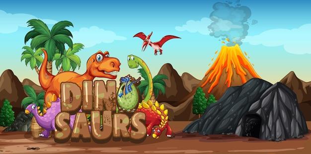 Dinossauros personagem de desenho animado em cena da natureza Vetor grátis