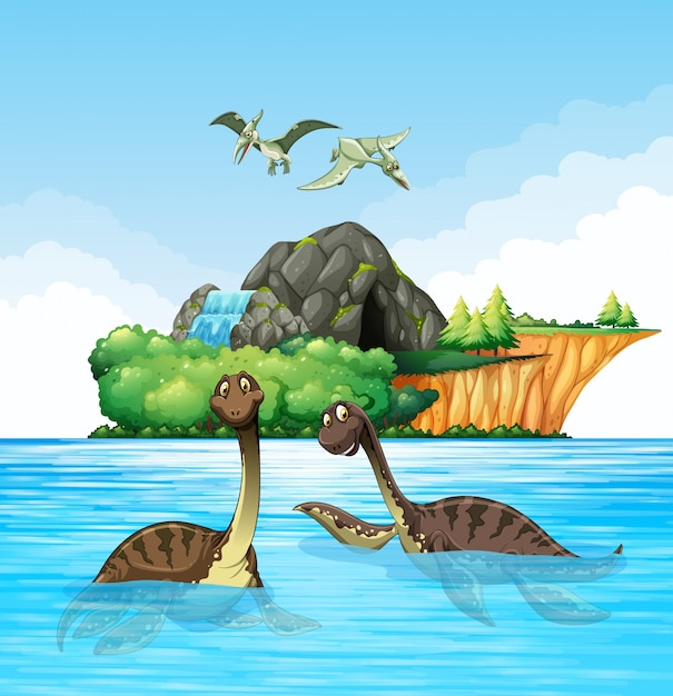 Dinossauros que vivem no oceano Vetor Premium