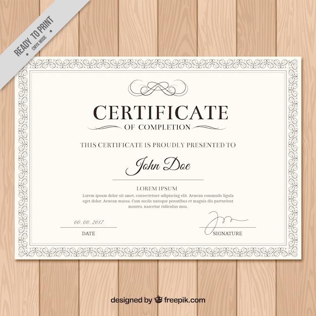 Diploma com quadro clássico Vetor grátis