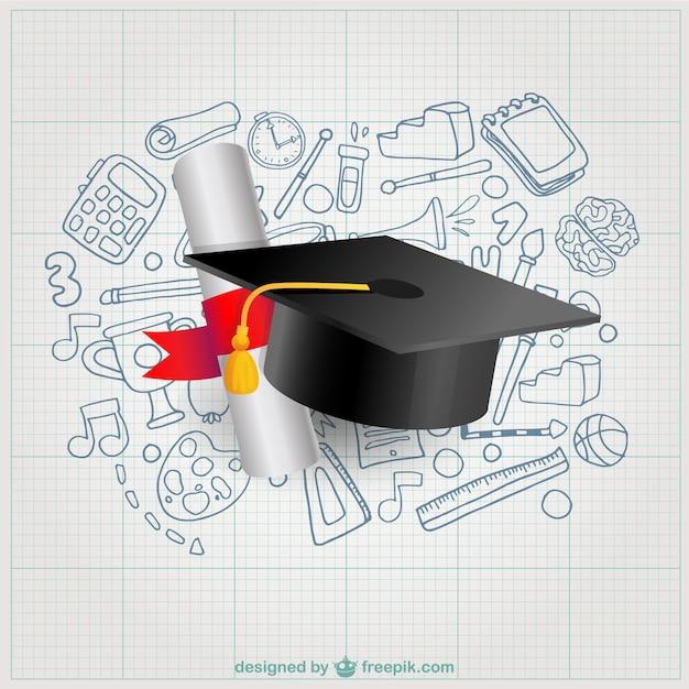 Diploma e mortarboard Vetor grátis