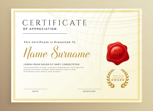 Diploma elegante ou modelo de prêmio de certificado Vetor grátis