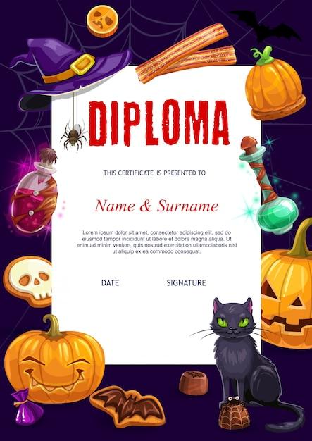 Diploma infantil com personagens de halloween Vetor Premium
