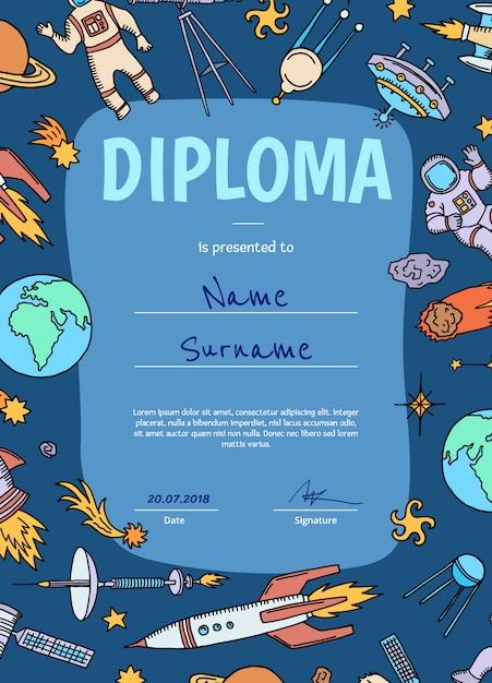 Diploma ou certificado de vetor para crianças com tema de espaço Vetor Premium