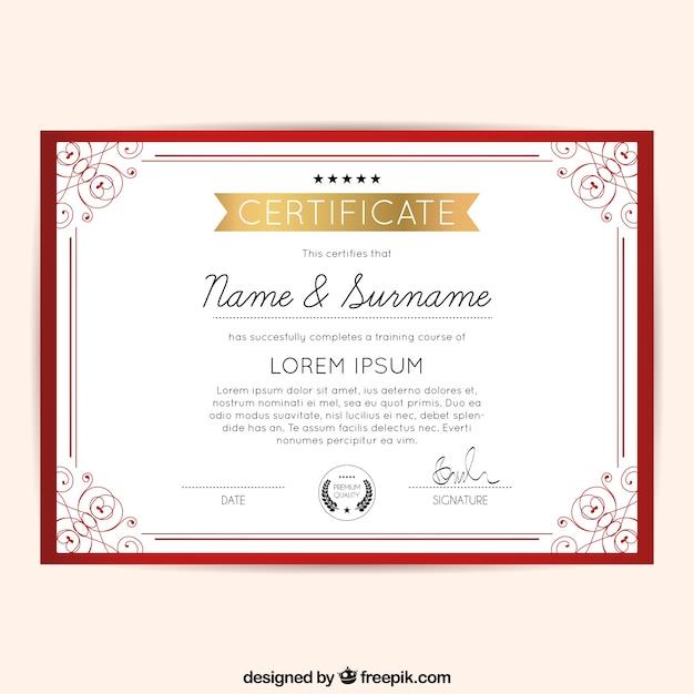 Diploma quadro decorativo vermelho | Vetor Grátis