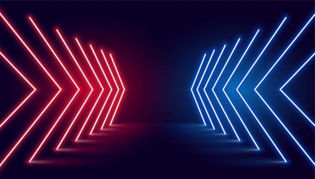 Direção da seta da luz de neon em perspectiva Vetor grátis