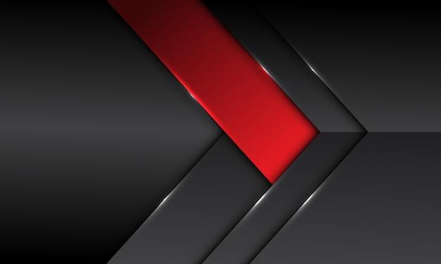 Direção da seta do banner abstrato cinza escuro metálico vermelho com design de espaço em branco moderno fundo futurista Vetor Premium
