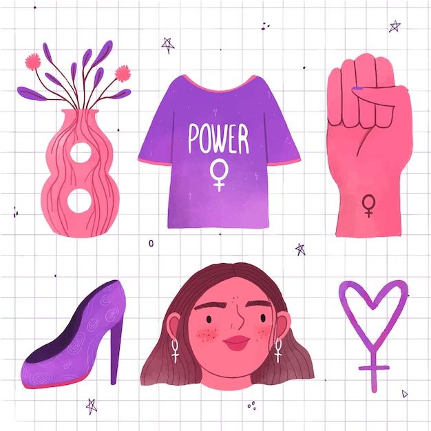 Direito das mulheres com rosto feminino e acessórios Vetor grátis
