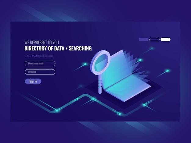 Diretório de dados, resultado de busca de informações, livro com lupa Vetor grátis