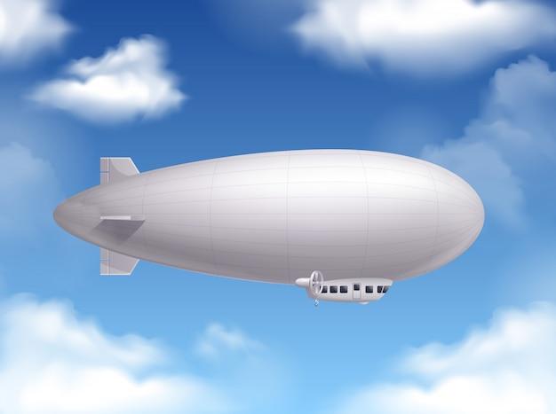 Dirigível no céu realista com símbolos de transporte aéreo Vetor grátis