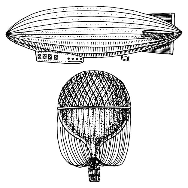 Dirigível ou zepelim e dirigível ou dirigível, balão de ar ou aeróstato ilustração. Vetor Premium