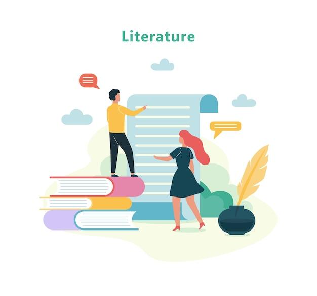 Disciplina escolar de literatura. ideia de educação e conhecimento Vetor Premium